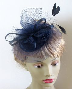 Navy cocktail hat navy mother of the bride by alicehartcouture