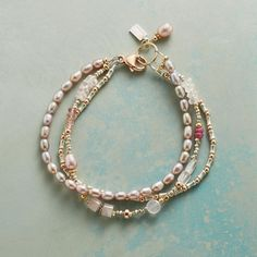 """BLUSHING BOUQUET BRACELET--A bountiful bouquet of lavender pearls, pink sapphire, rose and pink quartz and 14kt rose gold-filled charms in a bracelet with everlasting beauty. 14kt rose gold clasp. USA. Exclusive. 7-1/2""""L."""