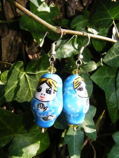 Blue Russian Nesting Doll Earrings by GoldiesNaturalGems on Etsy #fashion #jewelry #etsy