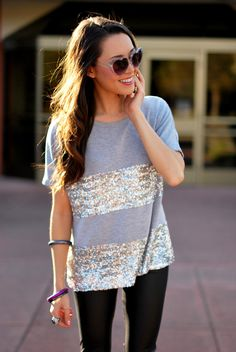 Casual Meets Glam Sequin & Gray Tee