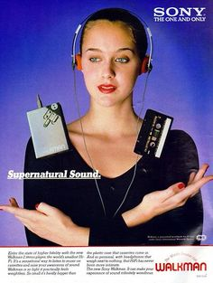 This Sony walkman ad shows the increase in technology for personal use. It also shows how the music industry was becoming more and more popular. 80s Ads, Old Advertisements, 1980s, Retro Ads, Radios, Poste Radio, Sony Electronics, New Retro Wave, Tape Recorder