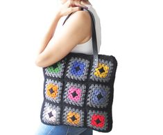 Chunky Granny Sguare Afghan Colorful Croched Handbag With by afra