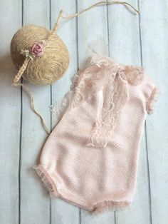 cod 135Newborn Lace Romper pale pinkbaby от 4LittlePrincessProps
