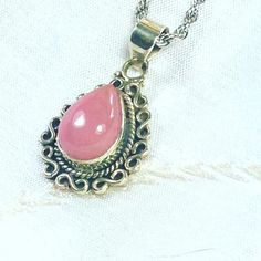 Pink Opal Necklace In Bali-Style Sterling Silver Handmade