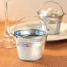 Miniature Galvanized Bucket Wedding Favor Container #wherebridesgo