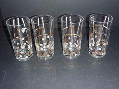 Set 4 Vintage Georges Briard Gold & White Golf Club Barware Glasses Mid Century