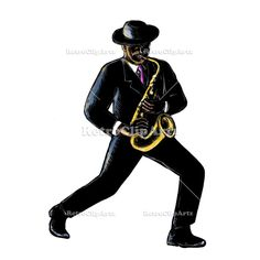 Jazz Musician Playing Saxophone Scratchboard Vector Stock Illustration.  Scratchboard style illustration of a vintage African-American Jazz musician playing music with his saxophone done on scraperboard on isolated background. #illustration   #JazzMusicianPlaying