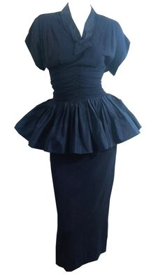 Sculptural Midnight Blue Cocktail Dress with Taffeta Peplum circa 1940s Dorothea's Closet Vintage Clothing