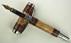 Handcrafted Wooden Pen Hand Turned Fountain Pen Hackberry Burl Purple Heart and Aluminum Accents Rhodium and Gold Titanium Hardware 450FPA