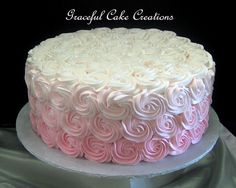 Wedding cakes, one truly must see simple cake demonstration, pin-image ref 4422807236 - Attractive wedding cake ways. Ombre Rosette Cake, Pink Ombre Cake, Diy Wedding Cake, Wedding Cake Designs, Bridal Shower Cakes, Baby Shower Cakes, Bridal Showers, Torta Hello Kitty, Rose Cake