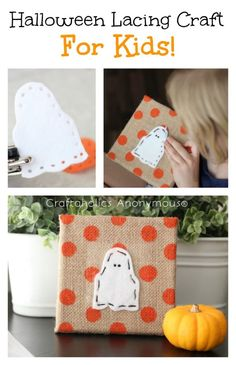 Halloween Kids Craft tutorial - Halloween Lacing sewing craft. Great for developing fine motor skills!