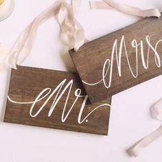 Rustic Wedding Signs, Mr and Mrs Chair Signs, Photo Prop Signs, Wedding Gift, Bride and Groom, Sweetheart Table | The Paper Walrus