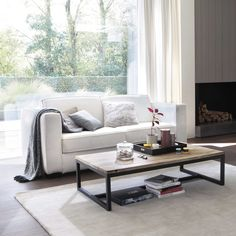 Wood and metal industrial coffee table W 129cm Long Island | Maisons du Monde