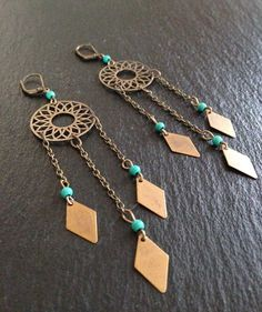 Boho bronze and turquoise disk earrings