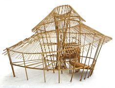Gallery of The Best Materials for Architectural Models - 22 Bamboo Architecture, Amazing Architecture, Architecture Design, Bamboo Structure, Roof Structure, Bamboo Roof, Bamboo House Design, Bamboo Building, Bamboo Construction