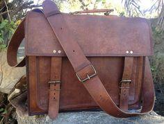 Steampunk Men Leather Messenger Bag Leather Satchel Perfect School Bag College Bag Office Bag on Etsy, $54.00