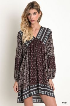 V-Neck Wide Fit Peasant Dress - Rust - Knitted Belle Boutique - 1