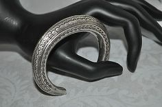Vintage Sterling Silver 925 Geometric Etched Bangle Cuff Rattle Bracelet