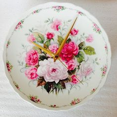 Silent Kitchen Plate Clock  Pink Roses and by LaviniasTeaParty