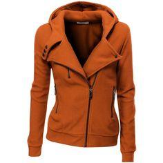 Women Slim Fit Fleece Zip-up Hoodie Jacket with Zipper Point ($38) ❤ liked on Polyvore featuring outerwear, jackets, coats, coats & jackets, orange, slim fit jacket, slim jacket, brown jacket, zipper jacket and fleece jacket