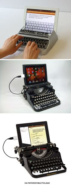 Faux vintage typewriters for tablets. Want.