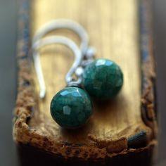 Dark Emerald Earrings Oxidized Sterling Silver by ShopClementine, $49.00