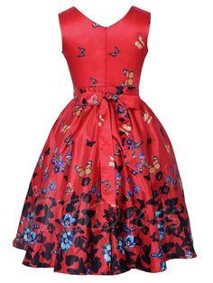 Red Butterfly Pattern Women's Day Dress - m.tbdress.com