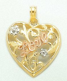 Amazon.com: Gold Misc Hearts Charm Pendant Heart W Love & Flowers Tri-color: Million Charms: Jewelry