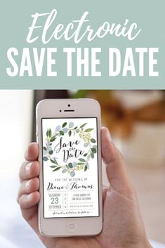 Electronic Save the Date, Eucalyptus Save the date, Digital Save the Date, SMS Save the date, Iphone Save the Date, Greenery invitation. #savethedate #wedding #stationery #affiliate #green