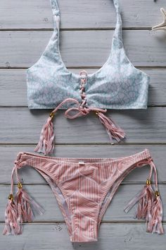 Hit Color Flower Print Halter Bikini Set