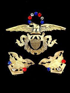 JOSEFF HOLLYWOOD GOLD RHINESTONE PATRIOTIC AMERICAN EAGLE BROOCH EARRINGS SET