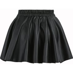 SheIn(sheinside) Black Elastic Waist Flare PU Leather Skirt (£5.40) ❤ liked on Polyvore featuring skirts, pu leather, pleated pleather skirt, short flared skirts, pleated skirt, leatherette skirt and elastic waistband skirt