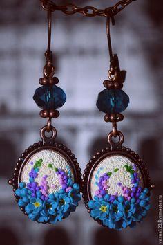 """Купить Серьги """"Аромат Весны"""" - голубой, серьги, серьги с цветами, незабудки, серьги ручной работы"""