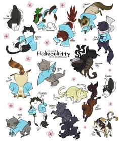This is by far the most number of chibi cats I've drawn on one photoshop file holy cow! I present: Hakuoukitties! The characters of Hakuouki reimagined as chibi cats! Excluding the new characters...