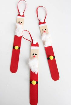 Create a DIY santa ornament out of popsicle sticks. These are SO CUTE and super easy to make!, Popsicle Stick Santas Create a DIY santa ornament out of popsicle sticks. These are SO CUTE and super easy to make! Kids Christmas Ornaments, Easy Christmas Crafts, Santa Ornaments, Christmas Decorations Diy For Kids, Christmas Projects For Kids, Christmas Candy, Popsicle Stick Christmas Crafts, Christmas Trees, Santa Christmas