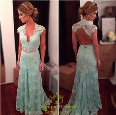 vampal.co.uk Offers High Quality Light Green Cap Sleeve Deep V Neck Lace Prom…