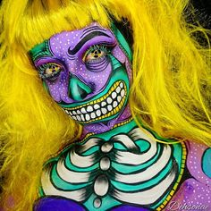 [ Halloween Makeup : Illustration Description Neon Pop Art Zombie by Dehsarae Halloween Makeup Looks, Halloween Hair, Halloween Cosplay, Halloween Make Up, Halloween Inspo, Bloody Halloween, Halloween 2015, Halloween Costumes, Zombie Makeup