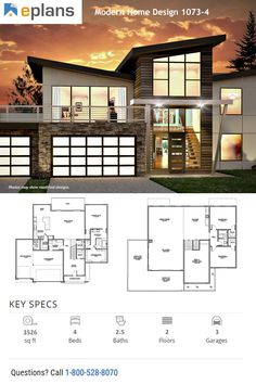 This modern design floor plan is 3526 sq ft and has 4 bedrooms and has bathrooms. Modern House Facades, Modern House Plans, Modern House Design, Huge Closet, Building Department, Facade House, Sinks, Master Suite, Modern Contemporary
