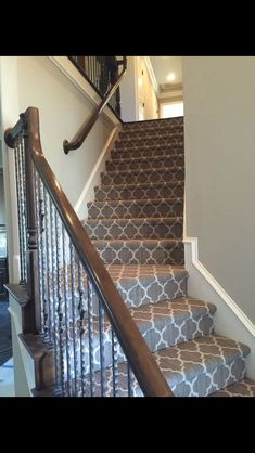Taza on the stairs. Carpet from Tuftex Carpets of California. Dean Horton Homes … – carpet stairs Decor, House, Home, Foyer Decorating, New Homes, Horton Homes, Carpet Stairs, Stairs, Patterned Stair Carpet