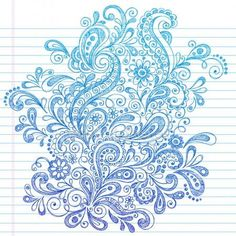 Paisley Abstract Design Element Back to School Style Sketchy Notebook Doodles Vector Illustration