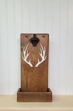 Rustic bottle opener with cap catcher Deer antler bottle