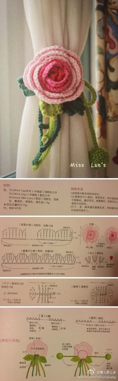 Rose Curtain Tie-back FREE CHART