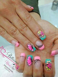 58 Ideas Nails Verano 2018 For 2019 Nail Tip Designs, Blue Nail Designs, French Nail Designs, Natural Acrylic Nails, Nails 2017, Finger Nail Art, Butterfly Nail, Pretty Nail Art, Easy Nail Art