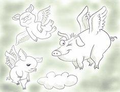 Flying pigs #flyingpig #pig #pencilsketch #artstagram #instagood #instagram #instaart #artstagram #drawing #illustration #doodle #sketch
