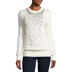 Michael Michael Kors Embellished Cable-Knit Crewneck Sweater ($255) ❤ liked on Polyvore featuring tops, sweaters, ecru, embellished sweaters, white cable knit sweater, crew sweater, crew neck sweaters and white long sleeve top