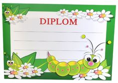 Diplom A5 - Dětský BD049 Vase, Layout, School, Projects, Character, Day Planners, Plants, Insects, Class Room
