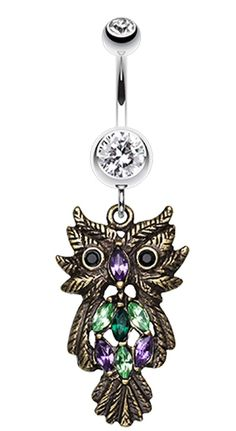 Whimsical Owl Sparkle Belly Button Ring  #BellyRing #Birds #Owls #OwlBellyRing