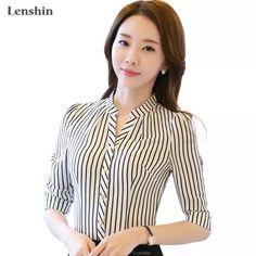 Camisa de gasa patrón de cebra a rayas blusa Formal de las mujeres Verano de media manga cuello en V Slim Oficina Tops mujer
