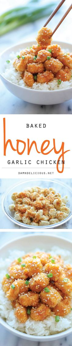 Baked Honey Garlic Chicken - A take-out favorite that you can make right at home, baked to crisp perfection. It's healthier, cheaper and so much tastier!