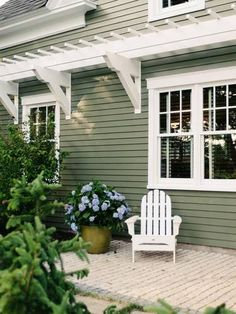 Shop domino for the top brands in home decor and be inspired by celebrity homes and famous interior designers. domino is your guide to living with style. Cottage Exterior Colors, Log Cabin Exterior, Bungalow Exterior, Craftsman Exterior, Exterior Paint Colors For House, Paint Colors For Home, Green House Color, Sage Green House, Green House Paint